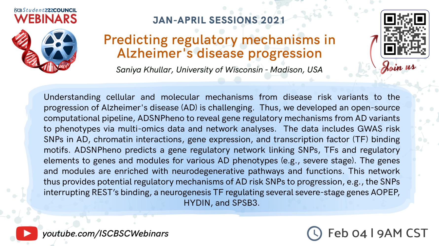 Predicting regulatory mechanisms in Alzheimer's disease progression