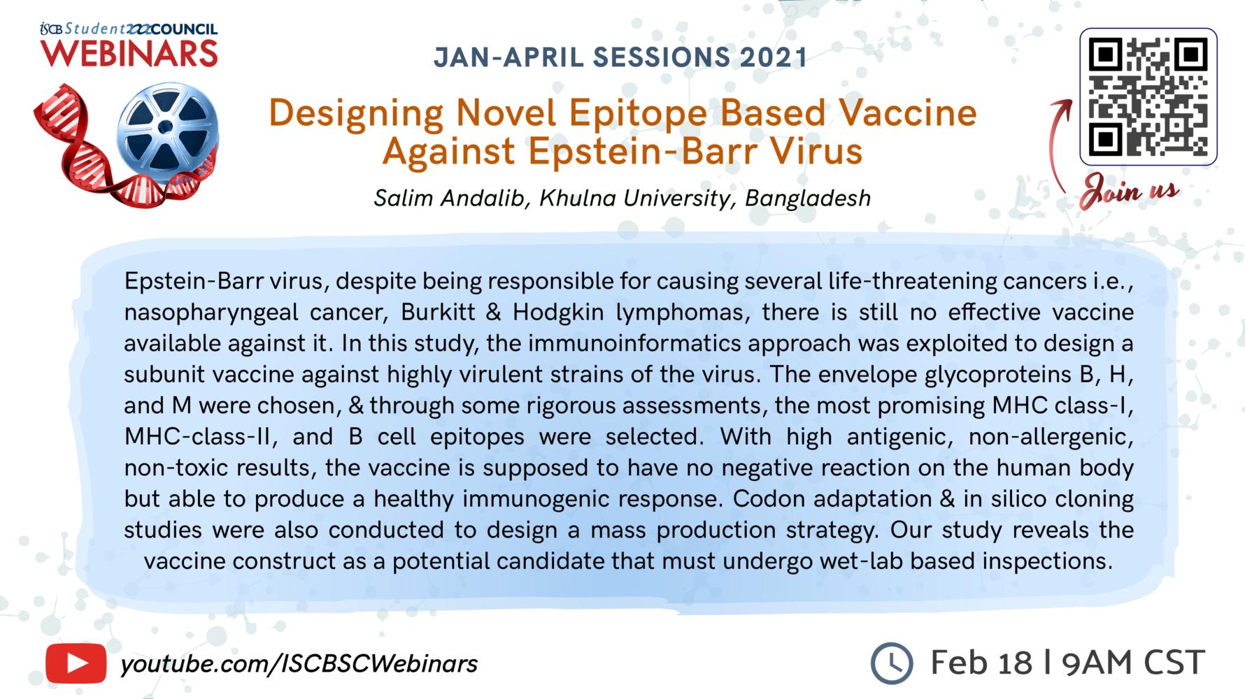 Salim Andalib: Designing Novel Epitope Based Vaccine Against Epstein-Barr Virus