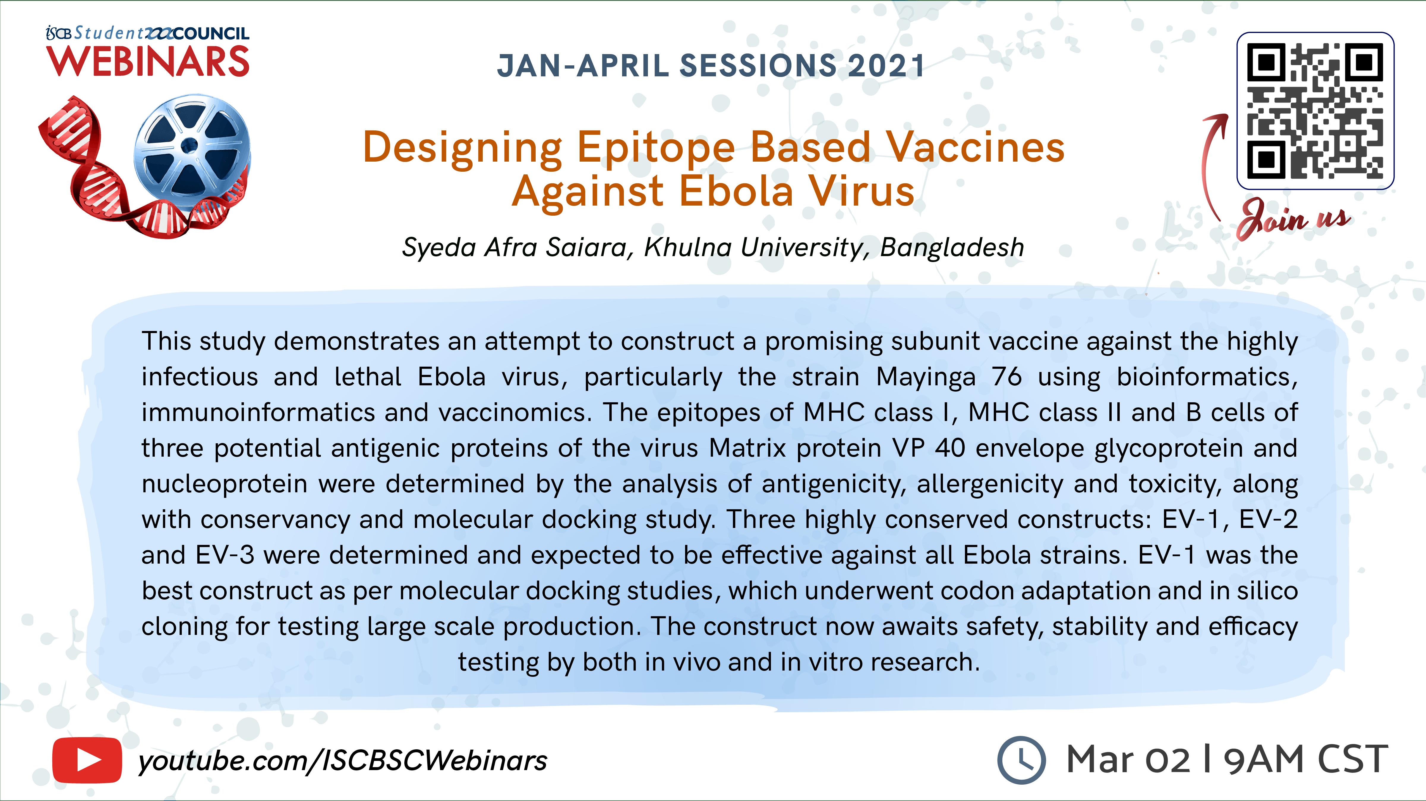 Syeda Afra Saiara: Designing Epitope Based Vaccines Against Ebola Virus